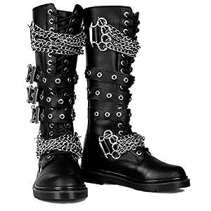 Gothic Combat Lace Up Military Punk Biker Steampunk Alternative Mens Boots