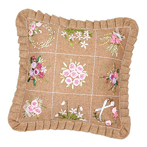 SM SunniMix 45x45cm DIY Ribbon Embroidery Cushion for Beginner Needlework Kits Cross Stitch Pillow Case Sewing