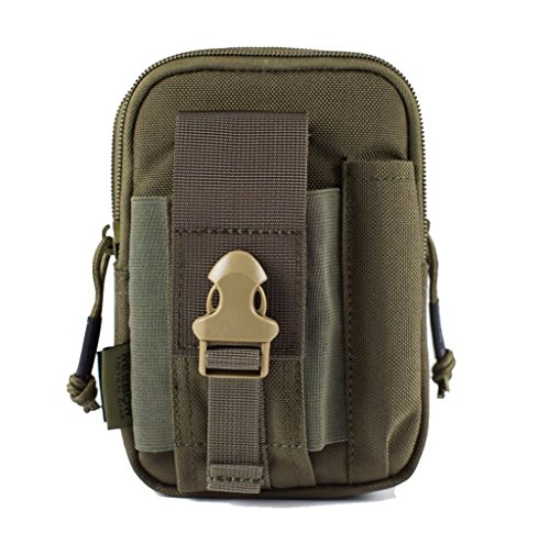 REEBOW GEAR Tactical Molle EDC Utility Pouch Gadget Belt Waist Bag with Cell Phone Holster Holder for iPhone 6 Plus Note Ranger Green ()