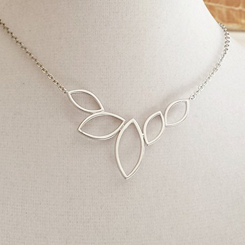 [14K White Gold Marquis Necklace, Sterling Silver Necklace, Silver Leaf Necklace, Wedding Jewelry by Elle Jewels] (14k Marquis)