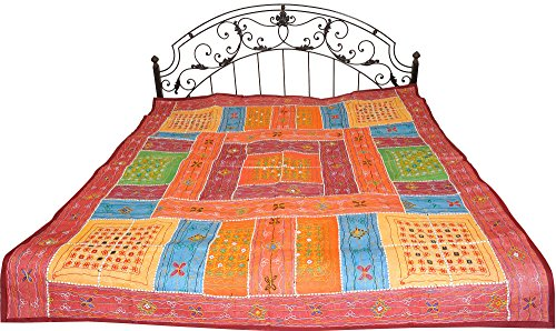 Multicolor Bedspread from Kutch with Embroidered Mirrors and Patchwork - Pure Cotton by Exotic India