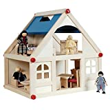 Sentik Children's Toy Wooden Doll House With Furniture & Figures People Kids Fun