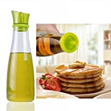 Gutreise Creative Leak proof 17 Oz 500 Ml Glass Oil Bottle High Borosilicate Glass Oil Pot Vinegar Soy Sauce Dispenser Bottle Kitchen Seasoning Bottle with No Drip Bottle Lid (Green:500ML/17OZ)