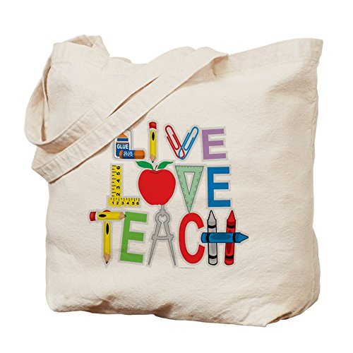 Cafepress – Live Love Teach – Borsa di tela naturale, tessuto in iuta