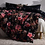"Duvet Cover Set Queen/Full-3 Pieces Black Flower Pattern Bedding Sets Zipper Closure 90""x90""-"