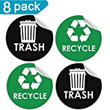 Pop Resin 8 Pack Recycle Sticker Sign Trash Decal Bin Label - 4'' x 4'' -Waterproof Organize & Coordinate Garbage Waste from Recycling - Great for Metal Aluminum Steel or Plastic Trash Cans - Indoor & O