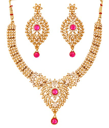 [Touchstone Indian bollywood beautiful white fuchsia party wear jewelry necklace set in antique gold] (Bollywood Costume Party)