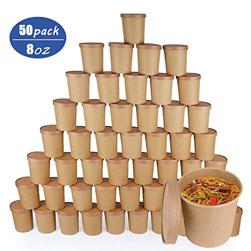 Disposable Take Out Food to-Go Containers/Soup Containers, Eco Friendly Kraft, Deli Food Storage with Airtight Lids, Stackable Pails 50 Packs for Restaurant,to-Go Lunch or Food Service(8 OZ) (Food Friendly Containers Eco)