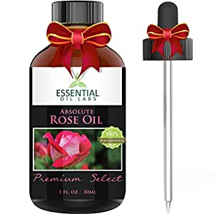 Rose Oil Absolute - Rosa Damascena - 100% Pure and Natural - Undiluted 1 fl ounce with Glass Dropper - Benefits for Mood, Skin and More - The Perfect Valentines Day Gift - by Essential Oil Labs