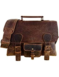 Handolederco 15.5 Inch Retro Buffalo Hunter Leather Laptop Messenger Bag Office Briefcase College Bag
