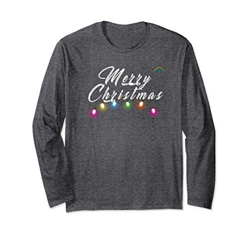 Unisex Mens Merry Christmas Long Sleeve Tshirt - Premium Quality XL: Dark Heather