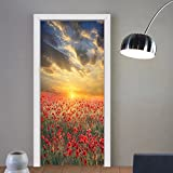Gzhihine custom made 3d door stickers Poppy Decor Meadow with Poppies and Rainbow Reflection in the Air Magical Sky Happiness Concept Decor Red Green Blue For Room Decor 30x79