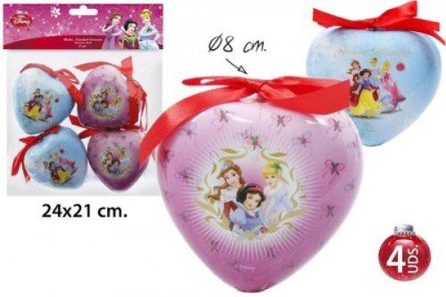 Palle di Natale cuore Disney Princess 4-pack