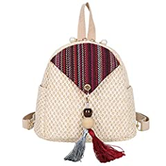 Woman 2019 New Woven Backpack Fashion Messenger bag Summer Straw Shoulder Bag Feature: The bag is perfect in workmanship. The elegant design can show your beautiful temperament. More humanized design for you. change as your like . And it can ...