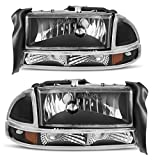 97 dodge durango - For 1997-2004 Dodge Dakota 1998-2003 Dodge Durango Headlight Assembly Headlamp Replacement with Park Signal Lamp Black Housing, One-Year Warranty(Driver and Passenger Side)
