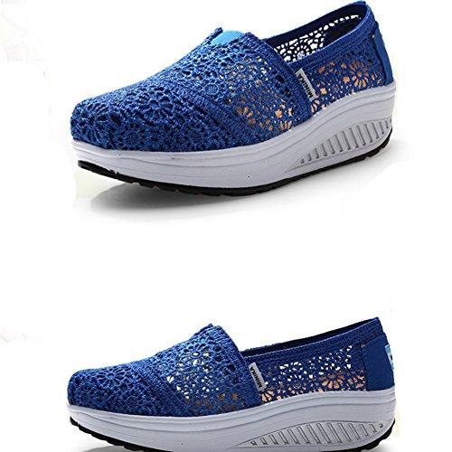 Scarpe Da Donna Per Donna Casual In Pizzo Traspirante A Base Pesante Antiscivolo Su Sneakers Con Zeppa Moda Di Btrada Blu