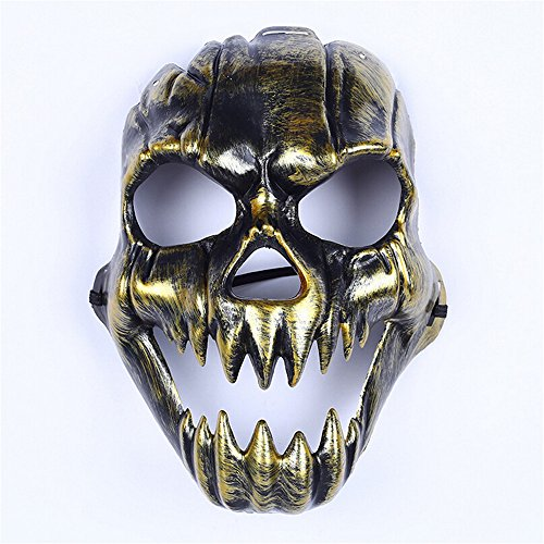 (Hofumix Halloween Scary Skull Masquerade Mask Skull Plastic Scary Child's Play Realistic Crazy Mask Creepy Party Halloween Costume)
