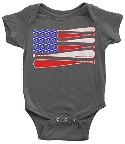 American Bats - Threadrock Baby Baseball and Bat American Flag Infant Bodysuit 24 Months Charcoal