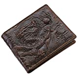 Itslife Men's Cowhide Leather Wallet Alligator Tiger Dragon Embossing