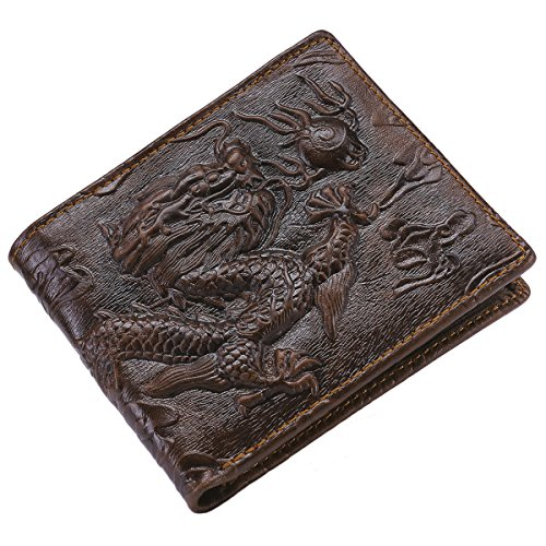 Itslife Men's Genuine Cowhide Leather 3D Dragon Embossing Horizontal Wallet