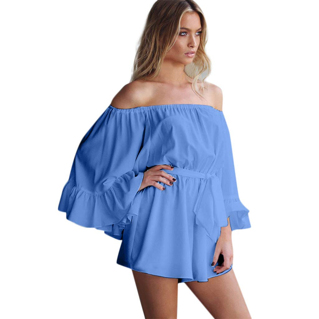 Women Sexy Off Shoulder Long Flare Sleeve Ruffled Rompers with Belts Casual Loose Comfort Fashion Solid Playsuits Jumpsuits Daorokanduhp