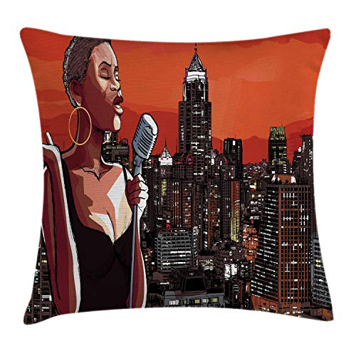 Ambesonne Afro Decor Throw Pillow Cushion Cover by, Jazz Singer on New York Roof Cityscape Urban Music Popular Town Illustration, Decorative Square Accent Pillow Case, 18 X 18 Inches, Orange Brown