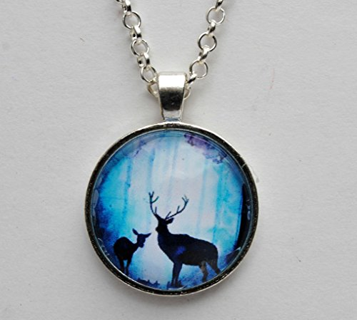 - Mystical Blue Deers Silhouette Glass Dome Circle Pendant Necklace 24 Inch Chain