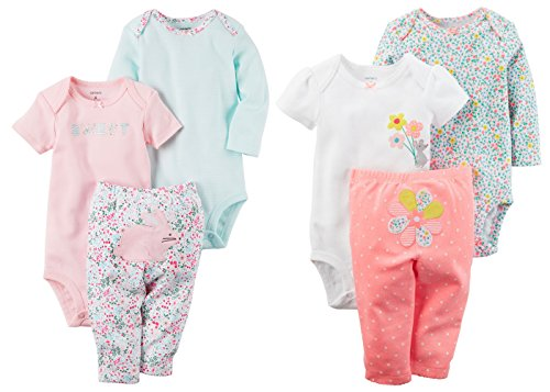 (Carters Baby Girls Easter Bunny and Flowers 6 Piece Bodysuits and Pants Set (12 Months))