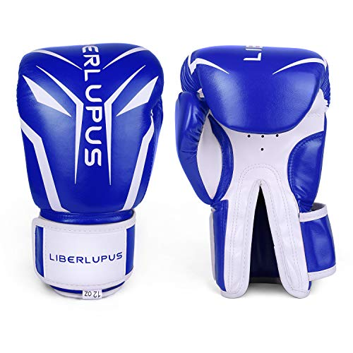 Liberlupus Cool Style Boxing Gloves for Men & Women, Boxing Training Gloves, Kickboxing Gloves, Sparring Gloves, Heavy Bag Gloves for Boxing, Kickboxing, Muay Thai, MMA(Blue& White, 14 oz)