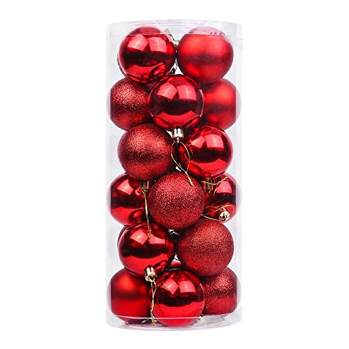 DegGod 24 Pcs 60mm/2.36inches Christmas Balls Baubles Ornaments, Shatterproof Shiny Matte Glittering Christmas Tree Hanging Ball Set for Xmas Tree Decorations (Red)