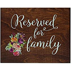 LifeSong Milestones Reserved Family Flowers Wedding Party Wall Table Sign Ceremony Reception Bride Groom (Walnut)