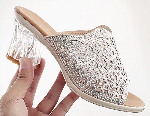 Moyen Strass Argent Mode Transparent Mules Talon Aisun Fille Femme qAFwtnv