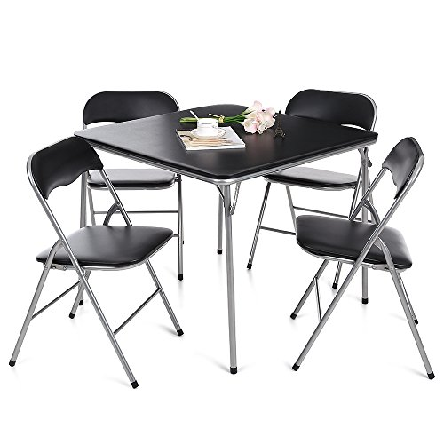 IKAYAA 5 Piece Folding Card Dining Table Chair Set, Black (Type 1)