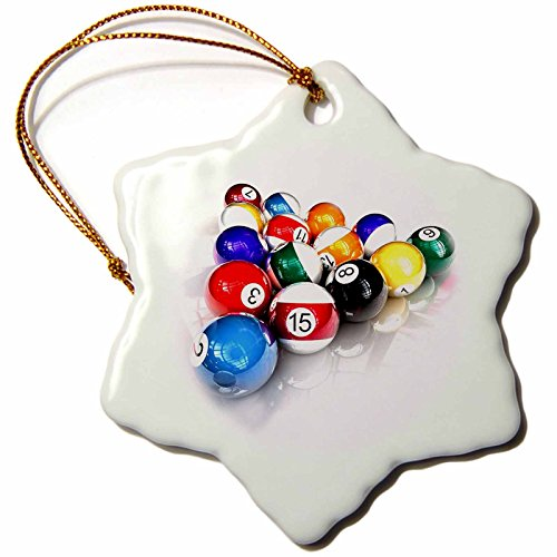 Billiard Ball Ornament (3dRose LLC Billiards Balls Pool 3-Inch Snowflake Porcelain Ornament)