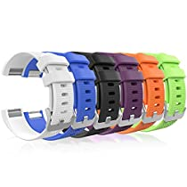 Fitbit Charge 2 Band, MoKo [6 PCS] Soft Silicone Adjustable Replacement Sport Strap Band for Fitbit Charge 2 Smartwatch Heart Rate Fitness Wristband, Wrist Length 5.11