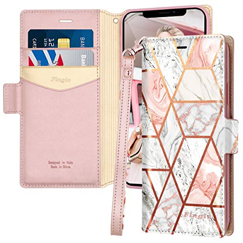 iPhone 11 Case, iPhone 11 Wallet Case, Fingic Rose Gold Marble PU Leather Wallet Case 2 ID & Credit Cards Slots Holder Side Pocket Kickstand Feature Flip Case Cover for Apple iPhone 11/ XI 6.1