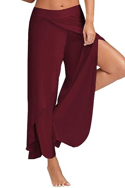 BienBien Femme Pantalon Yoga Harem Bloomer Sport Pantalon Fitness Jogging Large  Jambe Couleur Uni Casual  Amazon.fr  Vêtements et accessoires 8eaeba1f600