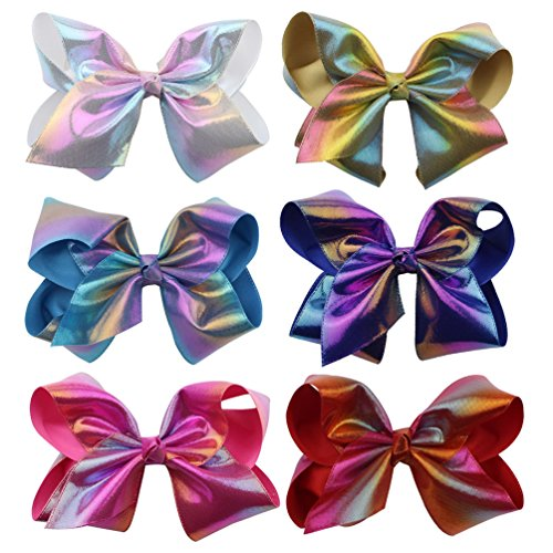 """Price comparison product image inSowni 8"""" Big X-Large Bow Hair Clips Barrettes for Baby Girl Toddlers Kids Women (6PCS S6)"""