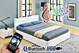 Romero LED Music Bed with Bluetooth - Speakers - Ottoman Gas Lift Storage - Faux Leather - Remote Control LEDs (Single 3ft, White)