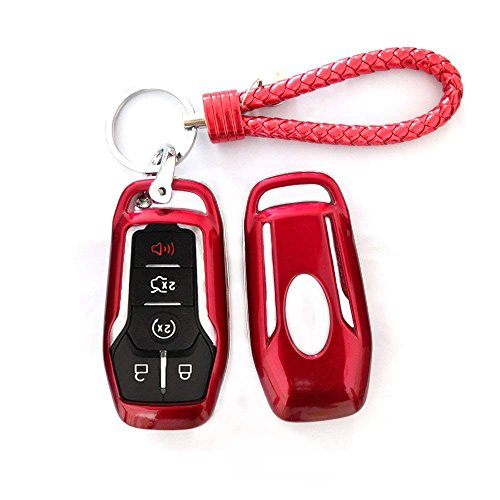 Thor Ind Abs Car Key Fob Case Cover Key Chain For Ford Taurus Mustang F 150 F 450 Explorer Fusion Edge Lincoln Mkc Mkz Mkx 4 5 Button Smart Key Glossy Plastic Protective Shell Red