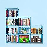 Oguine DIY Adjustable Bookshelf Organizer, 4 Tier Plastic 9 Cube Storage Bookcase Kids Office Closet Shelf Home Furniture Storage, Blue