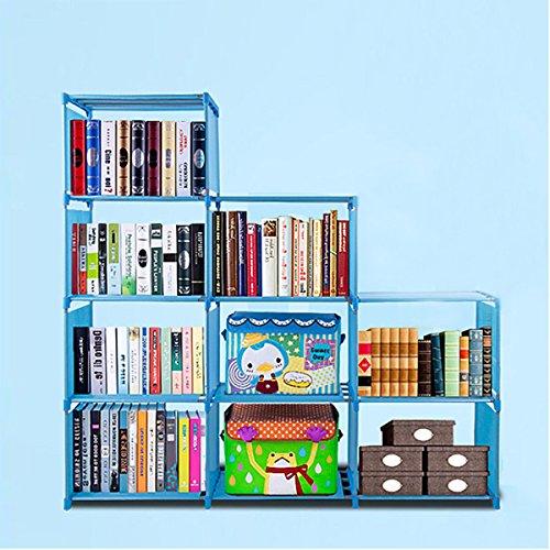 Oguine DIY Adjustable Bookshelf Organizer, 4 Tier Plastic 9 Cube Storage Bookcase Kids Office Closet Shelf Home Furniture Storage, Blue by Oguine