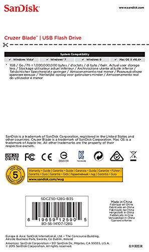 619659125905 - Sandisk 128GB Cruzer Blade USB Drive, SDCZ50-128G-B35 carousel main 4