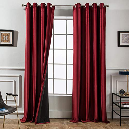 Melodieux 100% Blackout Velvet Curtains for Bedroom Living Room - Thermal Insulated Drapes with Black Liner, 52 by 96 Inch, Red (2 Panels) (Velour Curtains Red)