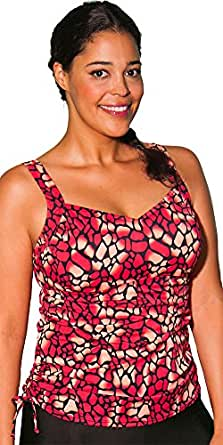Aquabelle Women's Mojave Side ShirTankini Top 12 Red