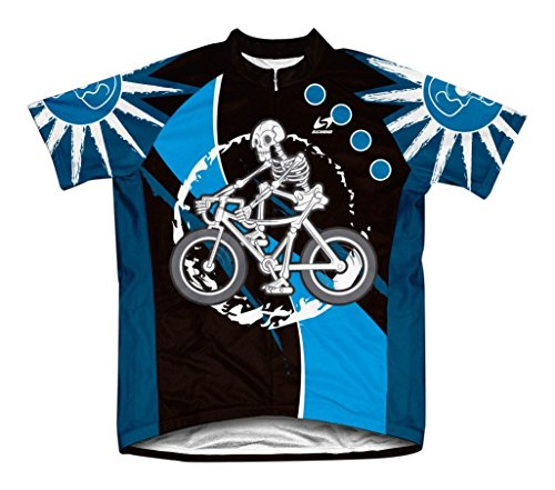Scudo Skeleton Biker Microfiber Short-Sleeved Cycling Jersey, M - Microfiber Bicycle Jersey