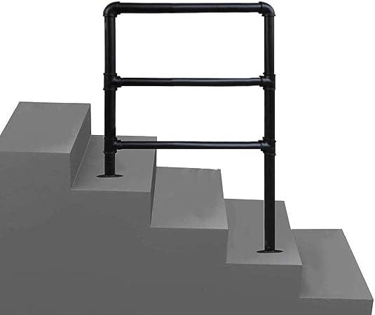 3 Pasos Pasamanos de transición, pasamanos de Escalera de Hierro Forjado Negro Mate Industrial, Piezas Completas, Adecuado para pasamanos de Escalera de Porche Interior y Exterior: Amazon.es: Hogar