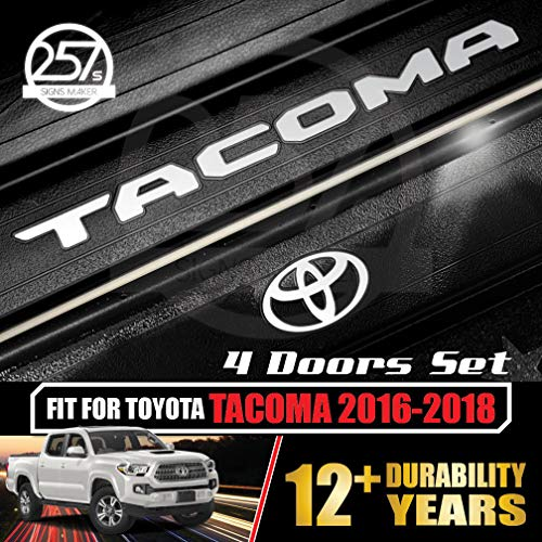 All-Weather (Gloss White) Tacoma Doors Sill Protector Insert Letters & Logo Sticker Full Set for 4 Door Vinyl Decals 2016 2017 2018 Toyota