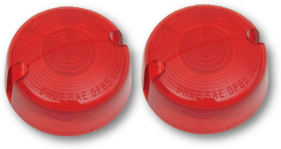 Orange Cycle Parts Pair Red Turn Signal Lens for Harley Super Glide FXR//Low Rider FXRS//FXLR 86-99 Softail FXST//Fat Boy FLSTF//Sportster XL//FXWG 86-01 Dyna Glide 91-98,00-01 Repl # 68457-86