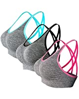 CLOUSPO Women's Sports Bra 4 Pack 2 Pack...
